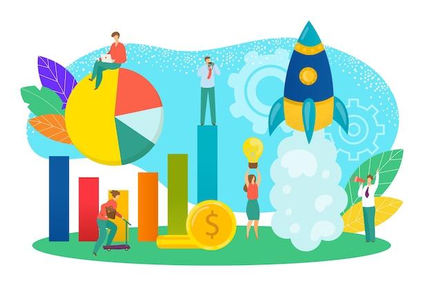 Poner en marcha el concepto de ilustración de nuevo proyecto empresarial. desarrollo de puesta en marcha y lanzamiento de nuevo producto de innovación. a partir de una nueva idea tecnológica, innovación. inicio creativo con símbolo de cohete.