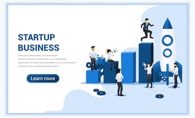 Poner en marcha el concepto de negocio. empresario corriendo a cohete y subir a su objetivo. ilustración