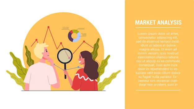 Poner en marcha la idea de los pasos. banner web para análisis de mercado para optimización.