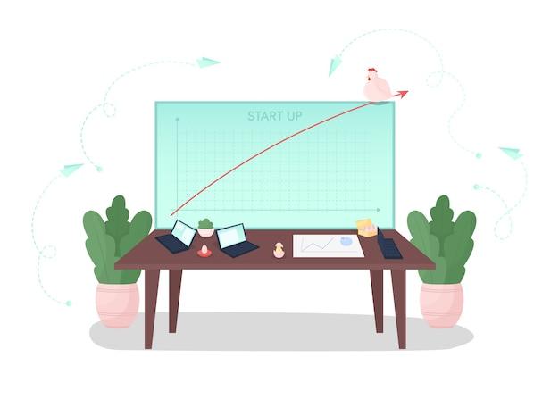 Poner en marcha la ilustración del concepto plano de desarrollo. informe financiero. ingresos crecientes. investigación de inversiones. metáfora de dibujos animados 2d de espíritu empresarial para el diseño web. lanzamiento de idea creativa empresarial