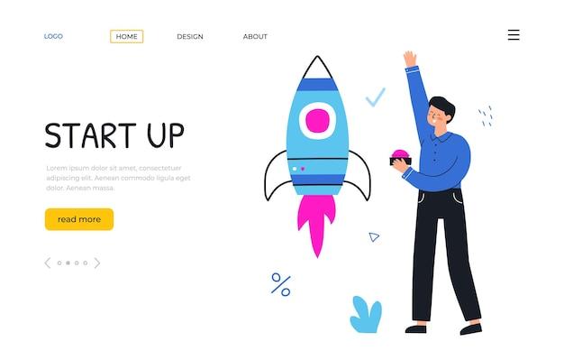 Poner en marcha un nuevo proyecto. el empresario lanza un cohete. plantilla de página de destino. vector ilustración dibujada a mano plana.