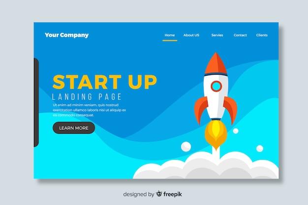 Poner en marcha la página de destino de diseño plano