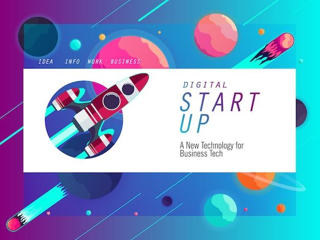Poner en marcha la plantilla de banner para la tecnología empresarial.