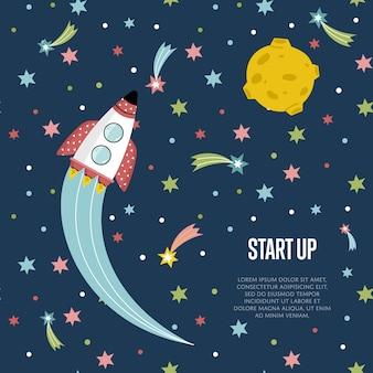Poner en marcha la plantilla de banner web de dibujos animados de espacio