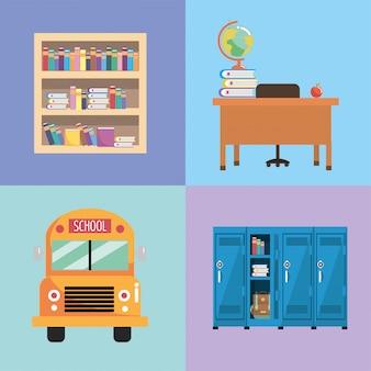Poner los utensilios escolares a la educación y al estudio.