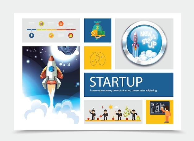 Ponga en marcha la composición colorida con empresarios que cultivan el árbol del dinero y la ilustración del lanzamiento del cohete
