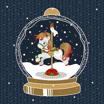 Poni de navidad en un hermoso invierno