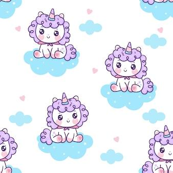 Pony lindo de dibujos animados de hadas unicornio de patrones sin fisuras sentarse en la nube