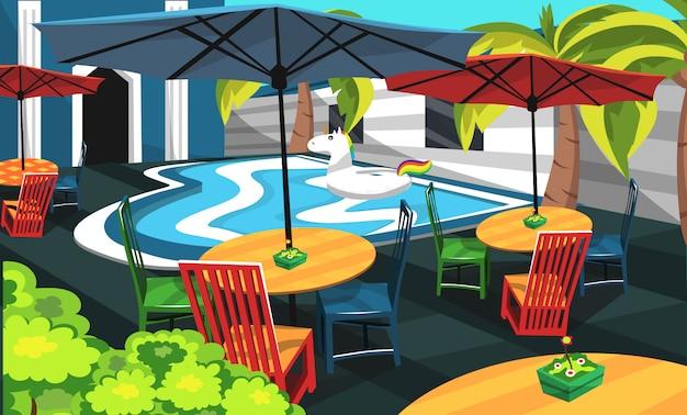 Pool cafe con piscina