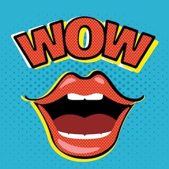 Pop art abre la boca con el bocadillo de diálogo wow.