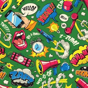 Pop art colorido de patrones sin fisuras
