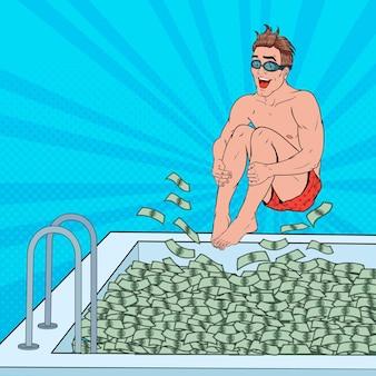 Pop art happy man saltando a la piscina de dinero. hombre de negocios exitoso. éxito financiero, concepto de riqueza.
