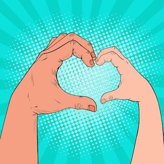 Pop art health care, caridad, concepto de donación de niños. las manos de adultos y niños hacen forma de corazón.