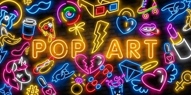 Pop art iconos de neón conjunto