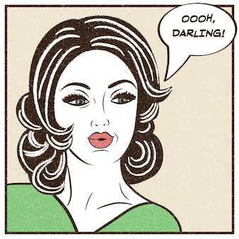 Pop art ilustración de la muchacha con la burbuja del discurso
