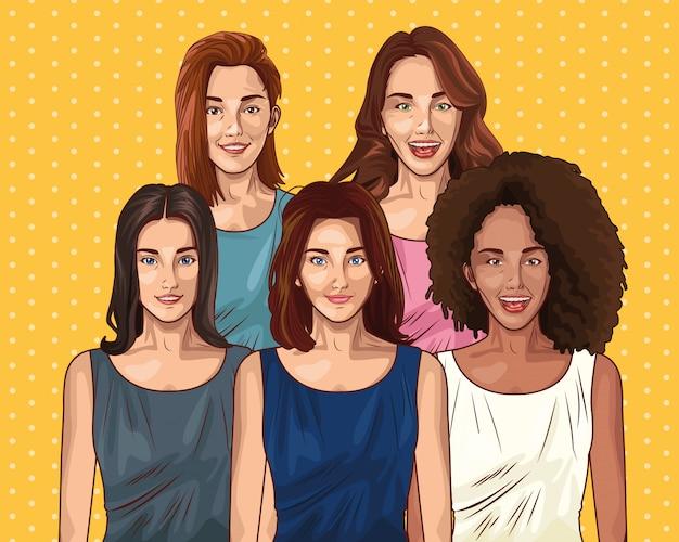 Pop art jóvenes amigos mujeres dibujos animados