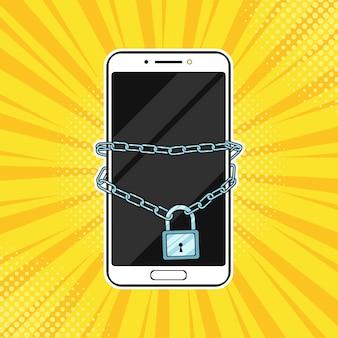 Pop art lock con cadena en el smartphone.