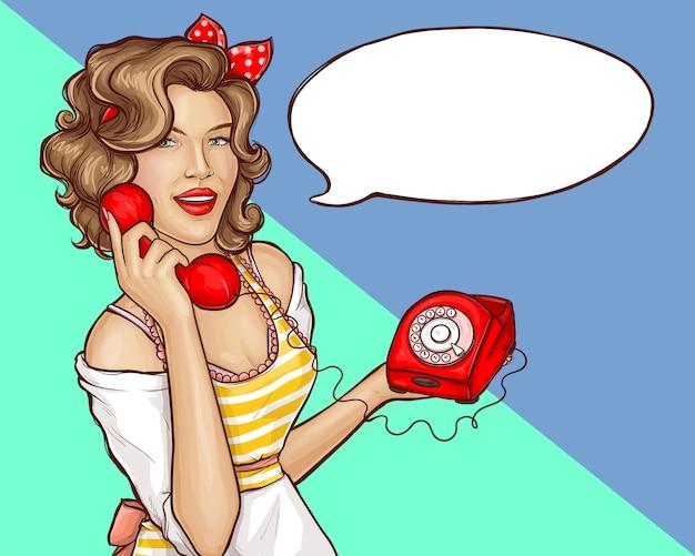 Pop art mujer ama de casa llamada banner de teléfono retro