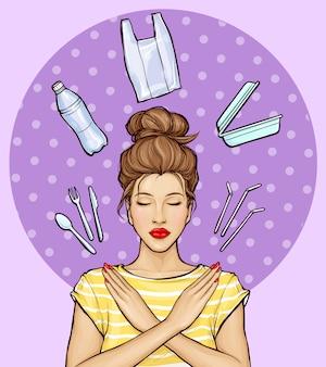 Pop art mujer rechazar de artículos de plástico