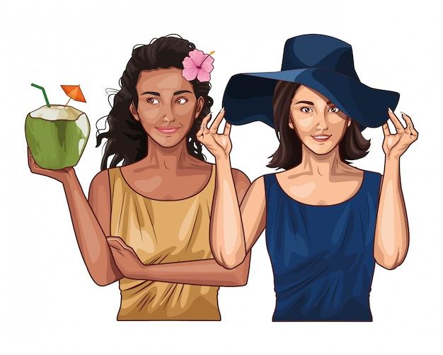 Pop art mujeres amigos sonriendo dibujos animados