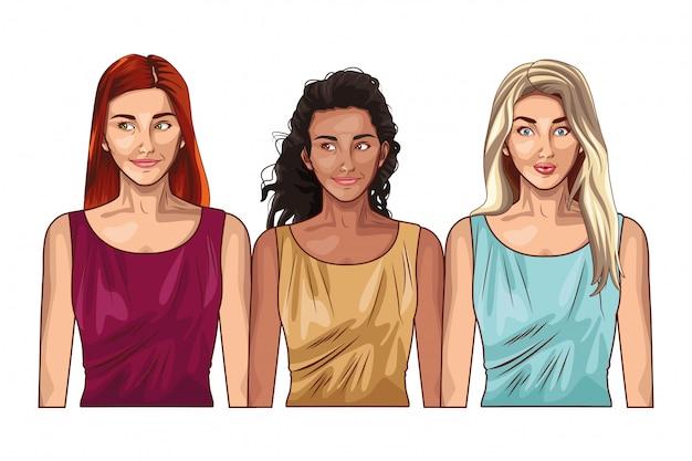 Pop art mujeres modelos sonrientes cartoon