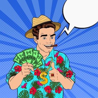 Pop art rich man con billetes de dólar y cigarros en vacaciones tropicales. ilustración