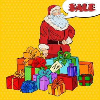 Pop art santa claus con regalos de navidad a la venta de navidad.