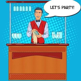 Pop art sonriente barman limpiando vidrio en el bar de discoteca.