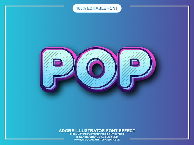 Pop grafico estilo ilustrador editable tipografia