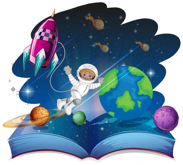 Pop up escena de espacio de libro