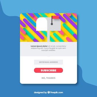 Pop up de suscripción colorido con diseño plano