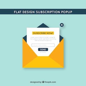 Pop up de suscripción moderno con diseño plano