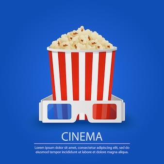 Popcorn y stereo-glasses en fondo azul