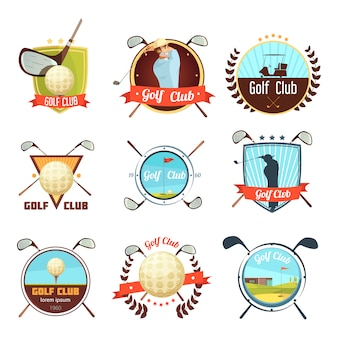 Populares palos de golf, colección de etiquetas de estilo retro con bolsa de pelota y jugador en el campo.
