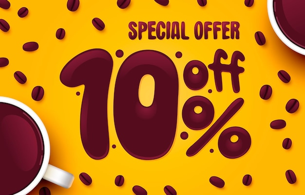 Porcentaje de descuento composición creativa café oferta especial venta banner y cartel vector