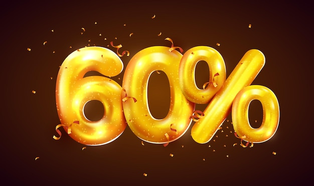 Porcentaje de descuento composición creativa de mega venta de globos dorados o símbolo de bonificación del sesenta por ciento con banner de venta de confeti
