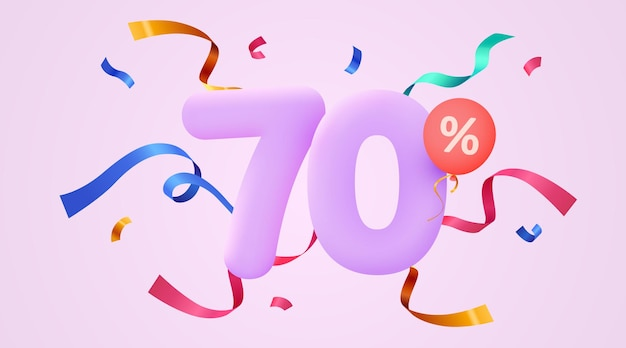 Porcentaje de descuento símbolo de venta de composición creativa d con banner y cartel de venta de confeti decorativo