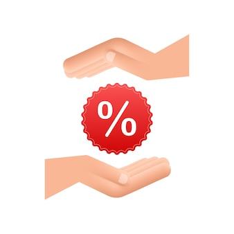 Porcentaje en manos en estilo 3d. dibujo vectorial. signo de porcentaje. icono de vector.