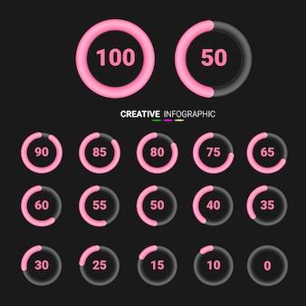Porcentaje de símbolos de gráficos circulares. porcentaje de infografías vectoriales.