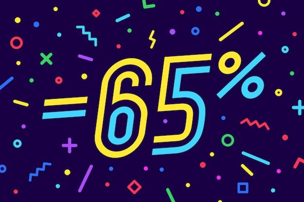 Porcentaje de venta. para descuento, venta. de póster, folleto y pancarta en estilo geométrico con porcentaje de texto. etiqueta, banner web para la venta, descuento. ilustración