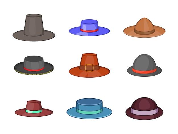 Porkpie sombrero conjunto de elementos. conjunto de dibujos animados de elementos de vector de sombrero de porkpie
