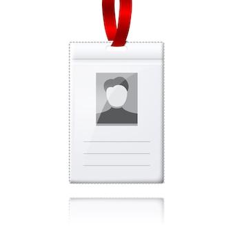 Porta acreditación vertical en blanco