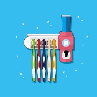Porta cepillos de dientes con muchos colores.