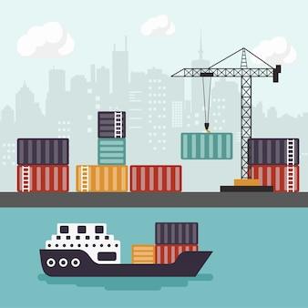 Portacontenedores en la descarga del terminal del puerto de mercancías