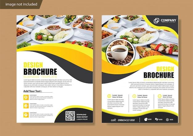 Portada amarilla y plantilla de folleto para informe anual