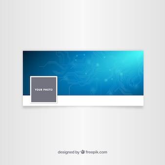 Portada azul tecnológica de facebook para empresa