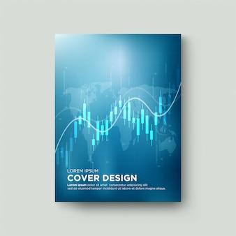 Portada comercial digital con ilustraciones de gráficos de velas y líneas curvas blancas.