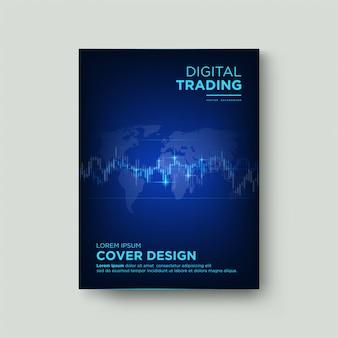 Portada comercial con ilustraciones de gráficos de velas de color azul claro sobre un fondo azul oscuro.