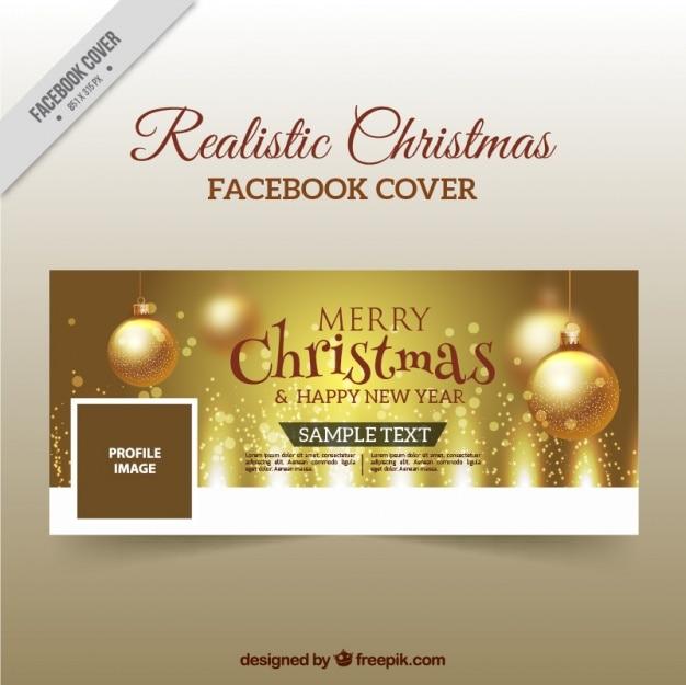 Portada dorada navideña de facebook