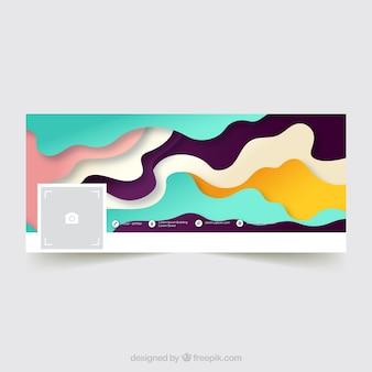 Portada de facebook abstracta con ondas de colores